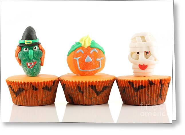 Spooks Cup Cakes On White Background Greeting Card by Simon Bratt Photography LRPS