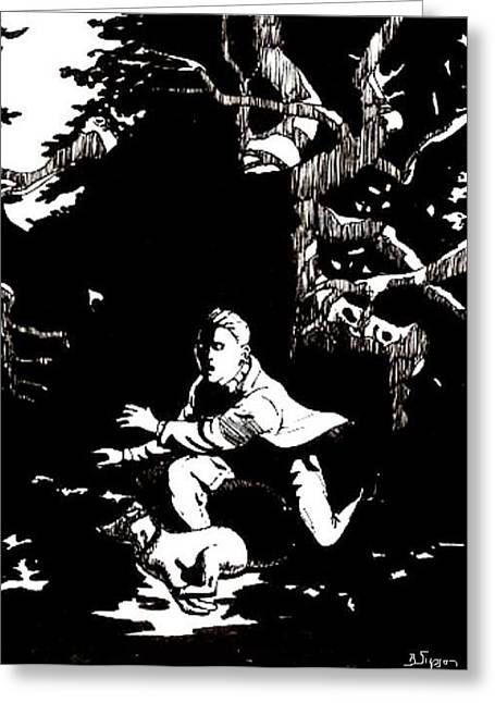 Spooks In The Woods Greeting Card by Brad Simpson