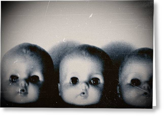 Spooky Doll Heads Greeting Card