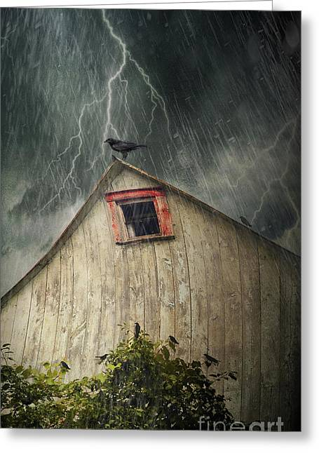 Spooky Old Barn With Crows On A Stormy Night Greeting Card by Sandra Cunningham