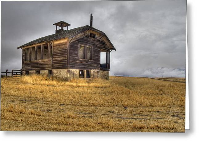 Spooky Old School House Greeting Card by Jean Noren