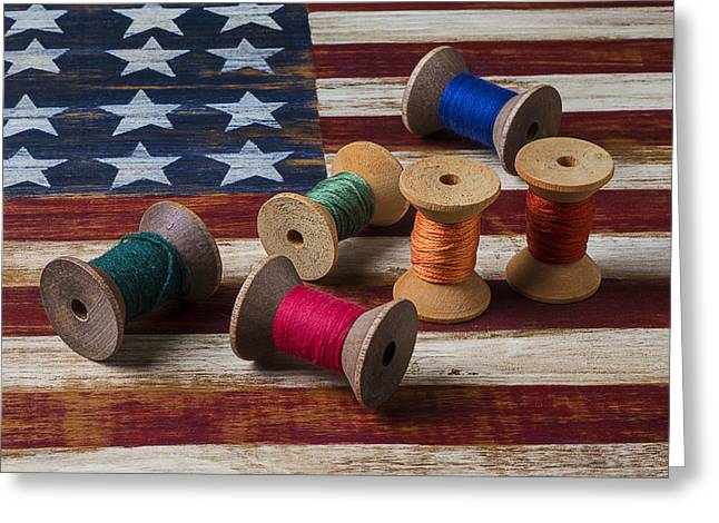 Spools Of Thread On Folk Art Flag Greeting Card by Garry Gay