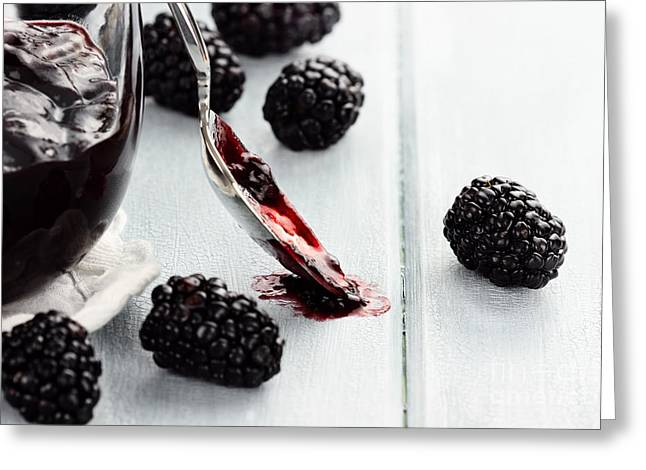 Spoon And Blackberry Jam Greeting Card by Stephanie Frey