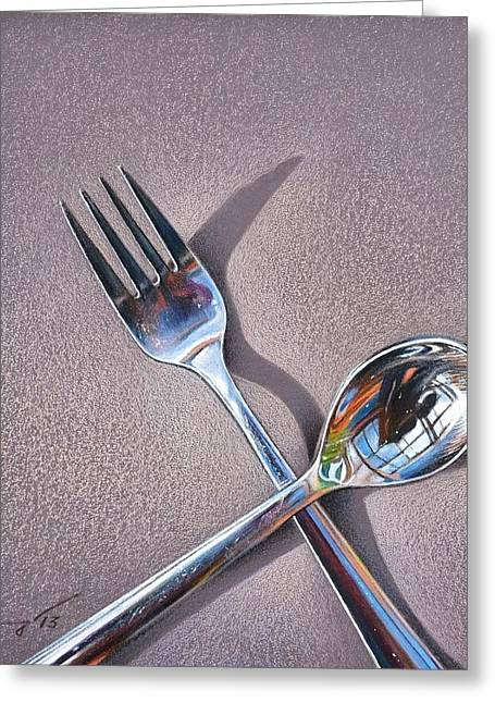 Spoon And Fork 2 Greeting Card by Elena Kolotusha