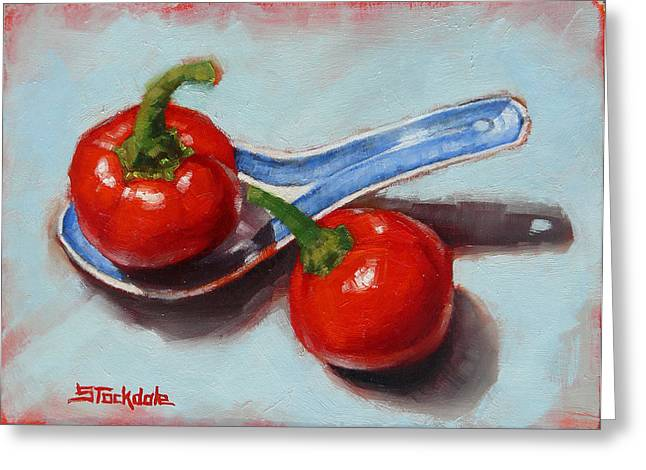 Greeting Card featuring the painting Spoonful Of Chilli by Margaret Stockdale