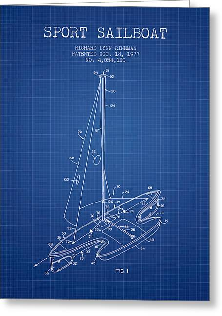 Sport Sailboat Patent From 1977 - Blueprint Greeting Card by Aged Pixel