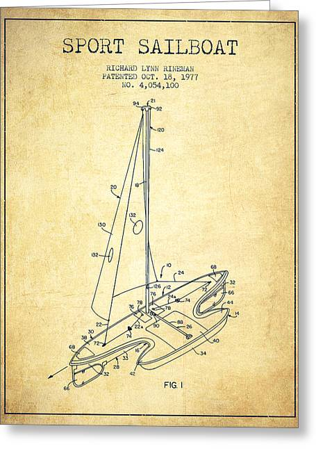 Sport Sailboat Patent From 1977 - Vintage Greeting Card by Aged Pixel