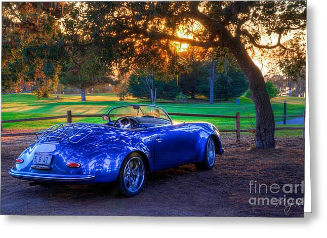 Sports Car Golf Course Sunset Greeting Card