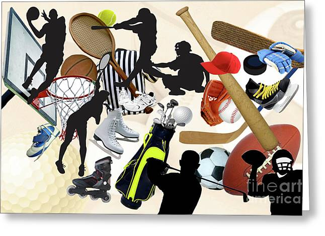 Sports Sports Sports Greeting Card by Susan  Lipschutz