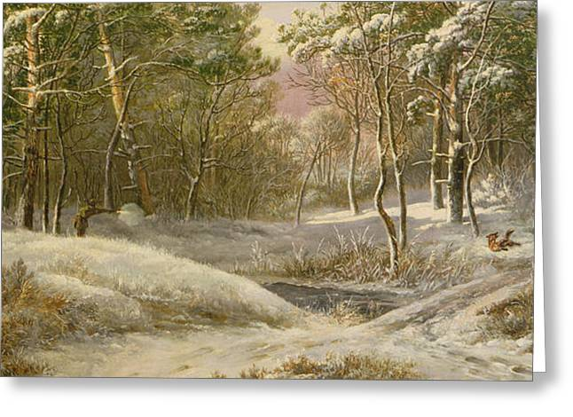 Sportsmen In A Winter Forest Greeting Card by Pieter Gerardus van