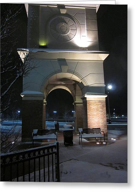 Spotlight On A Mall Tower Greeting Card by Guy Ricketts