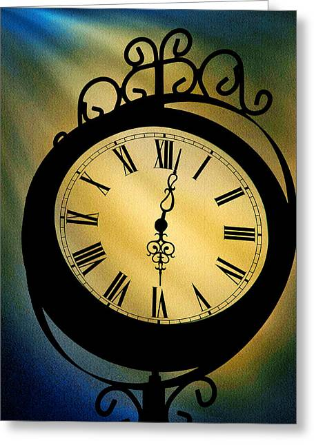 Spotlight On Time Greeting Card by Mike Flynn