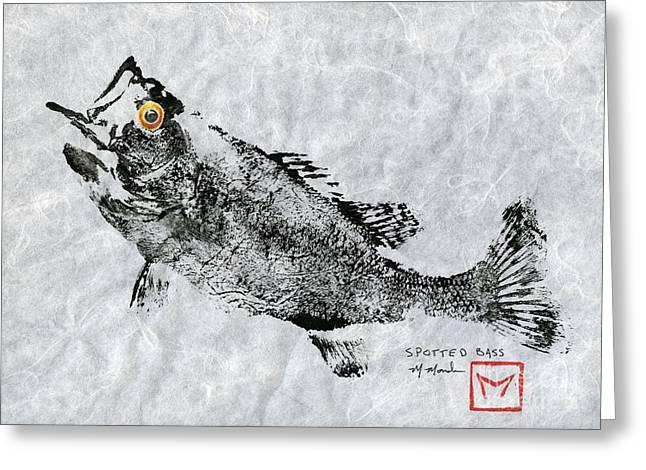 Spotted Bass Gyotaku Greeting Card by Matt Monahan