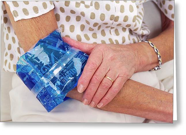 Sprained Elbow Greeting Card by Lea Paterson/science Photo Library