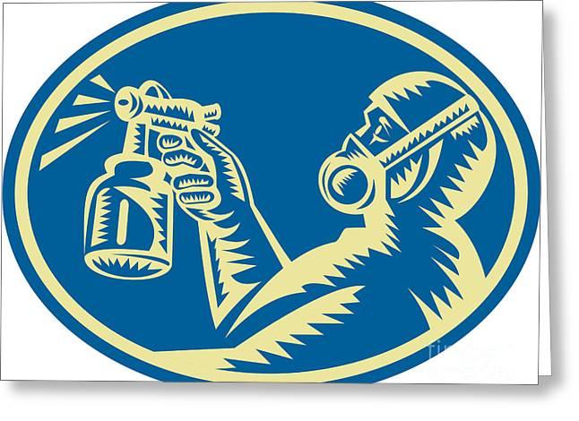 Spray Painter Spraying Gun Retro Greeting Card by Aloysius Patrimonio