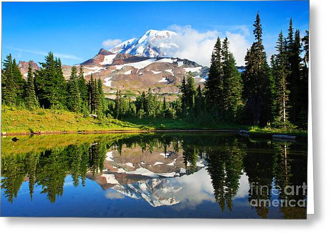 Spray Park Tarn Greeting Card by Inge Johnsson