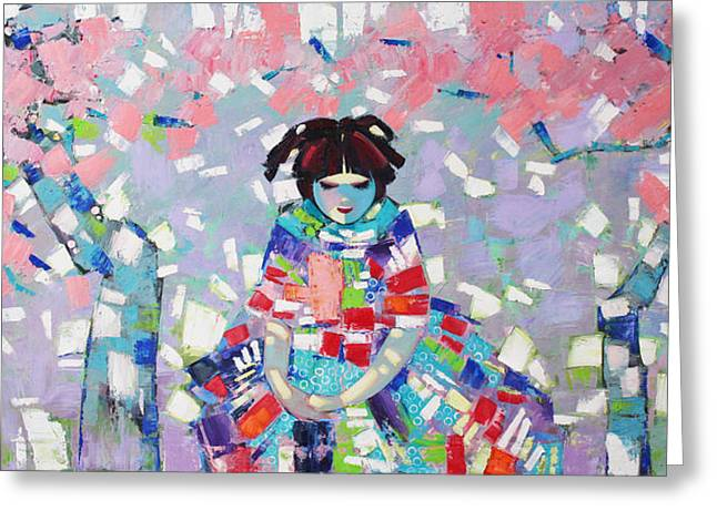 Greeting Card featuring the painting Spring by Anastasija Kraineva