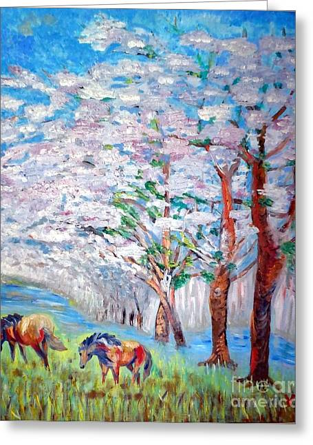 Spring And Horses 2 Greeting Card by Vicky Tarcau