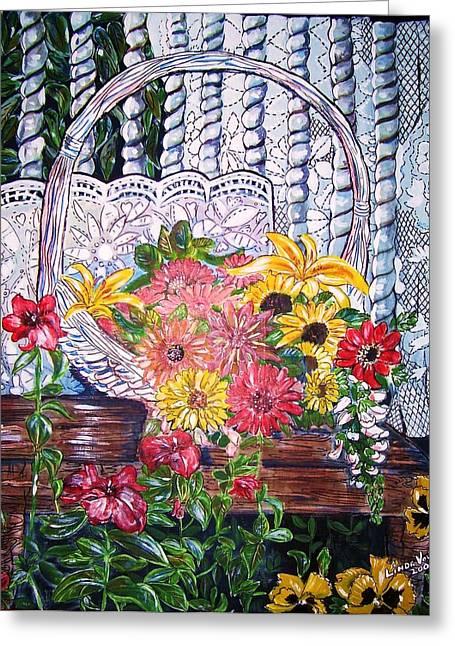 Spring Basket Greeting Card by Linda Vaughon