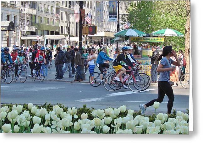 Spring Bike Event From New York To New Jersey Greeting Card by Margaret Bobb