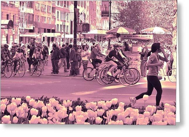 Spring Bike Event In Manhattan Greeting Card by Margaret Bobb