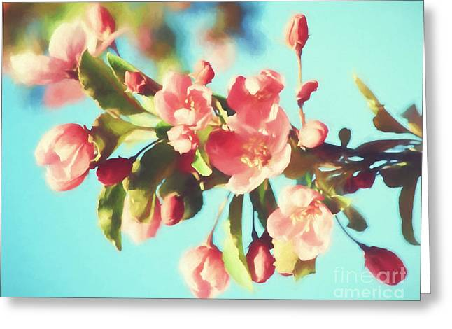 Spring Blossoms In Digital Watercolor Greeting Card