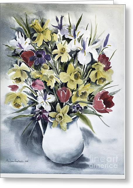 Greeting Card featuring the painting Spring Bouquet by Joan Hartenstein