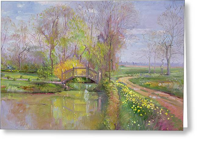 Spring Bridge Greeting Card by Timothy  Easton