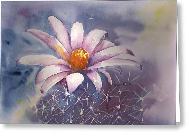 Spring Cactus Cross Between Christmas And Hedgehog Greeting Card by Sharon Mick