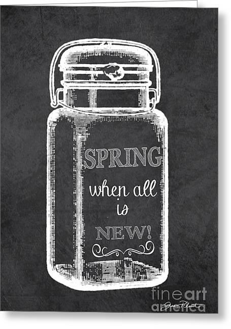 Spring Chalkboard Art-1 Greeting Card