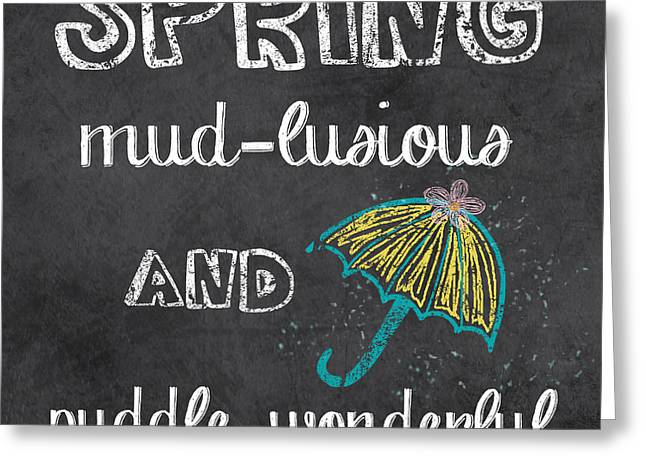Spring Chalkboard Art-3 Greeting Card by Jean Plout