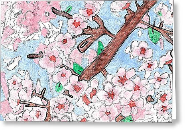 Greeting Card featuring the painting Spring Cherry Blossoms  by Fred Hanna