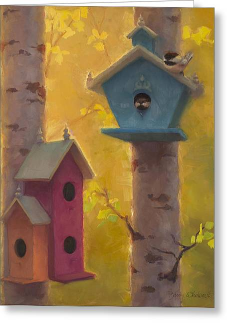 Spring Chickadees 2 - Birdhouse And Birch Forest Greeting Card