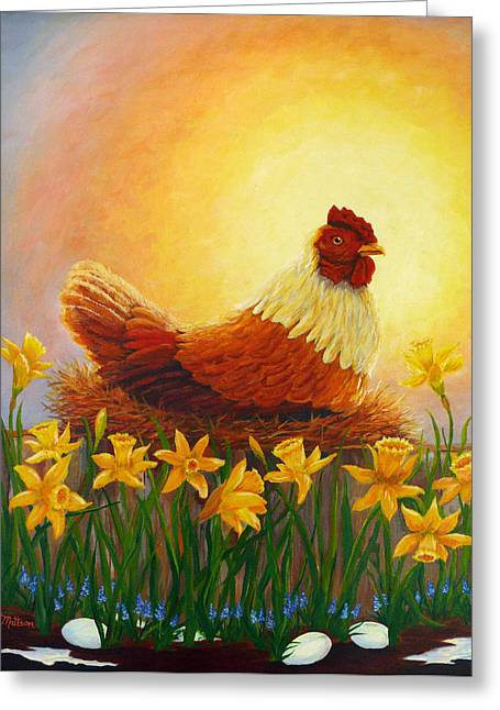 Greeting Card featuring the painting Spring Chicken by Karen Mattson