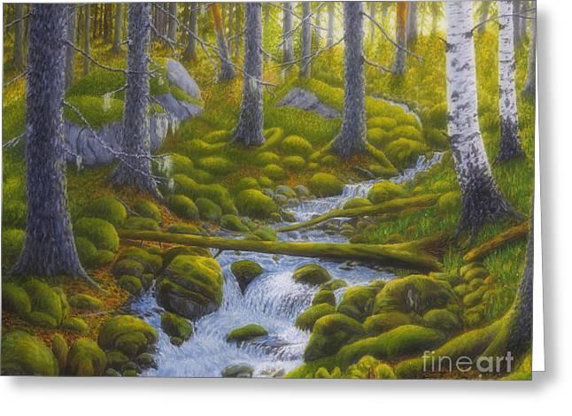 Spring Creek Greeting Card by Veikko Suikkanen