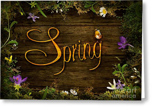 Spring Design - Flower Wreath Greeting Card by Mythja  Photography