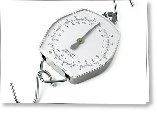 Spring Dial Weighing Scales Greeting Card by Science Photo Library