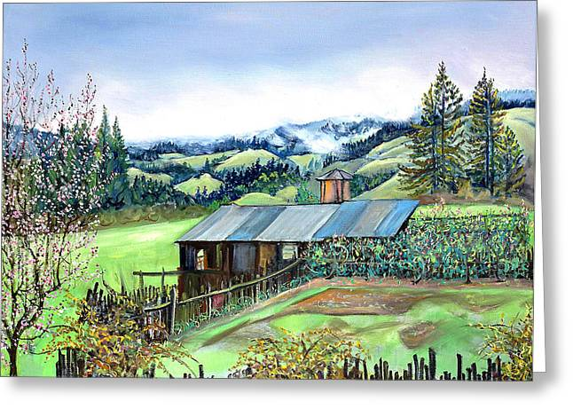 Greeting Card featuring the painting Spring Farm by Asha Carolyn Young