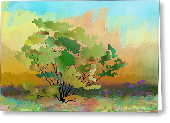 Spring Field Greeting Card by Bedros Awak