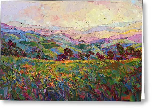 Greeting Card featuring the painting Spring Fling by Erin Hanson