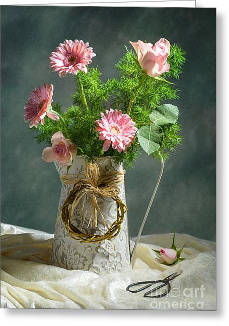 Spring Floral Bouquet Greeting Card by Amanda Elwell