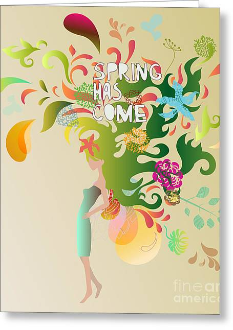 Spring Floral Girl Illustration Greeting Card