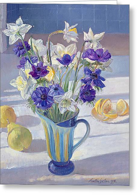 Spring Flowers And Lemons Greeting Card by Timothy  Easton