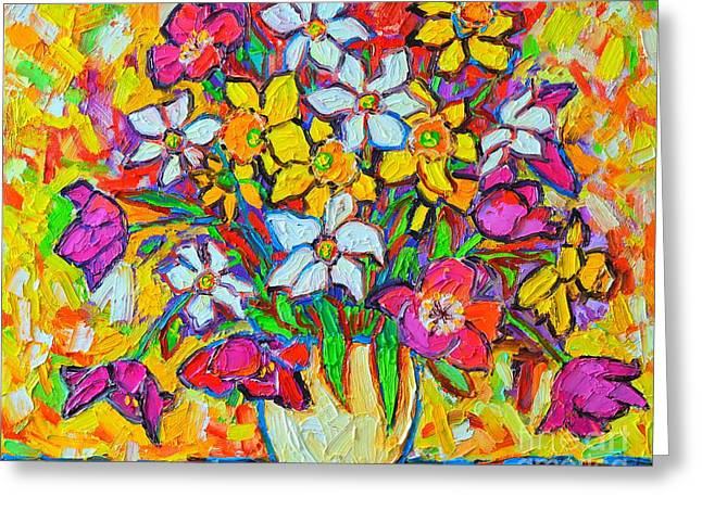 Spring Flowers Bouquet Colorful Tulips And Daffodils Greeting Card by Ana Maria Edulescu