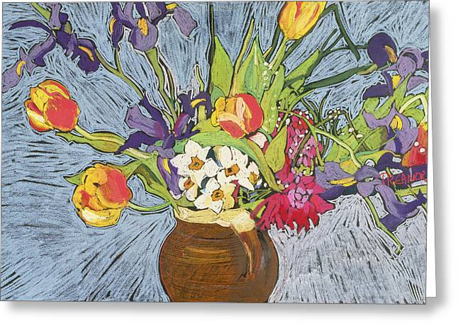 Spring Flowers Greeting Card by Frances Treanor