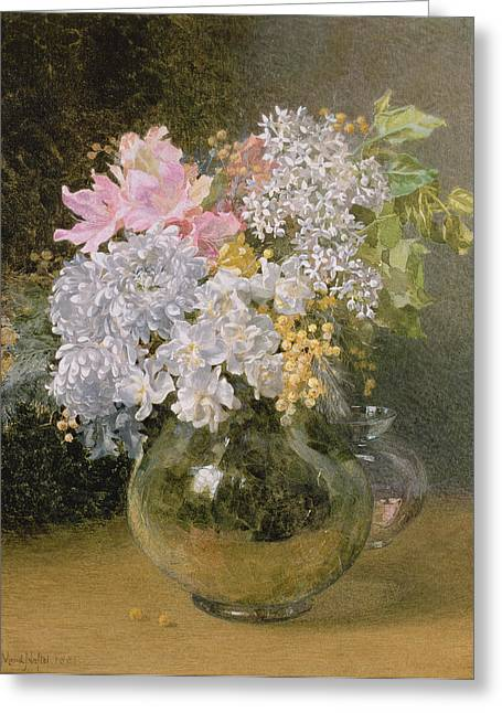 Spring Flowers In A Vase Greeting Card by Maud Naftel