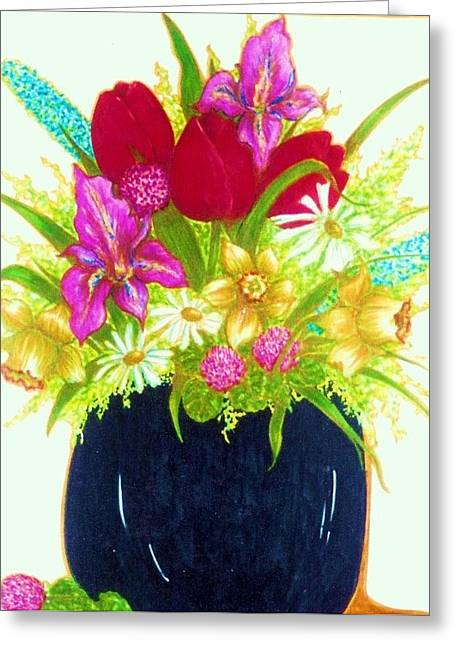 Spring Flowers Greeting Card by Rae Chichilnitsky