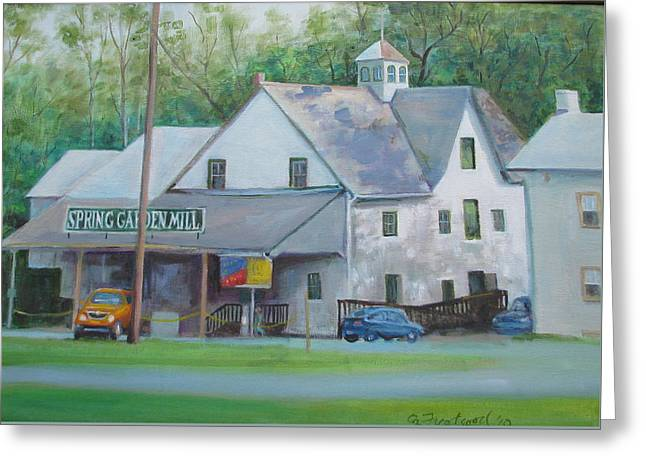 Greeting Card featuring the painting Spring Garden Mill Playhouse by Oz Freedgood