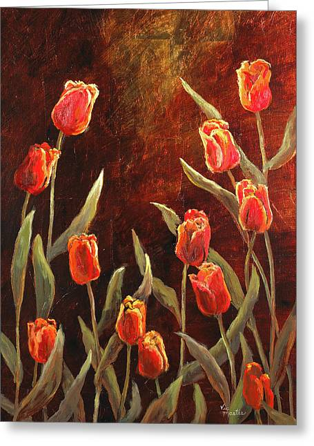 Greeting Card featuring the painting Spring Garden by Vic  Mastis