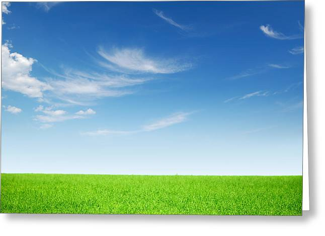 Spring Green Landscape Greeting Card by Boon Mee